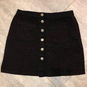 Brandy Melville Black Button-Up Skirt